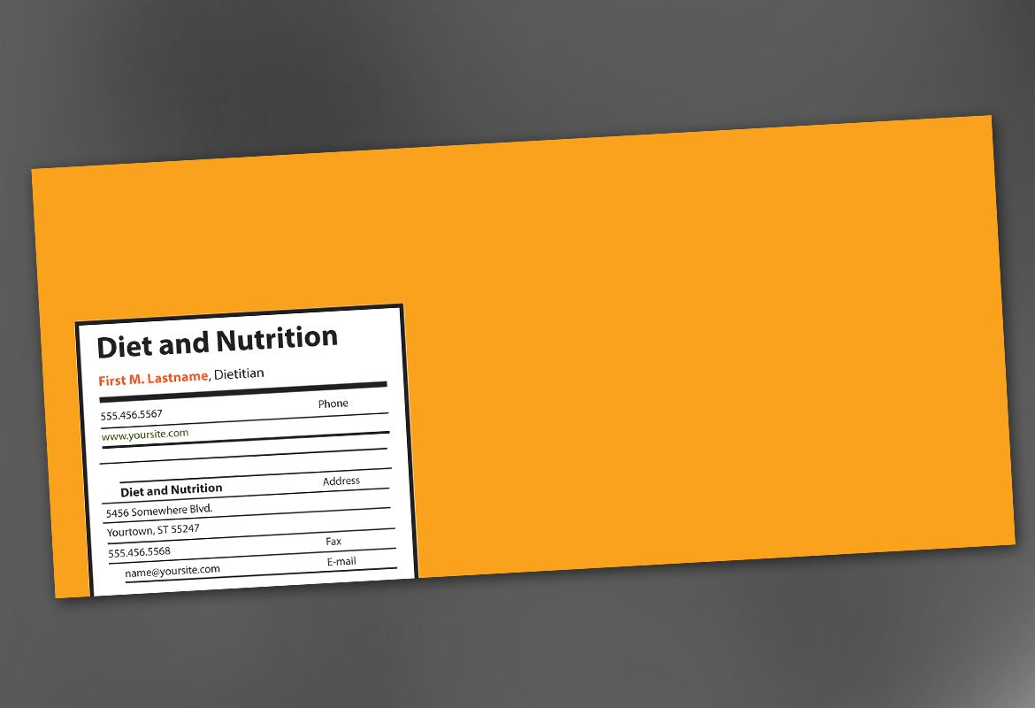 Health and Nutrition Envelope Design Layout