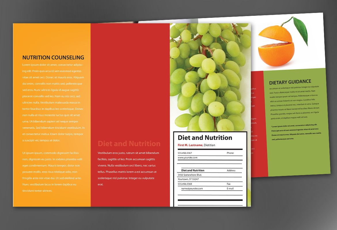 Tri fold brochure template for health and nutrition order for Health pamphlet template