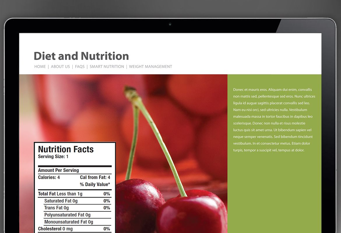 Health and Nutrition Website Design Layout