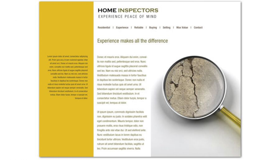 Home Inspection Services Website Design Layout