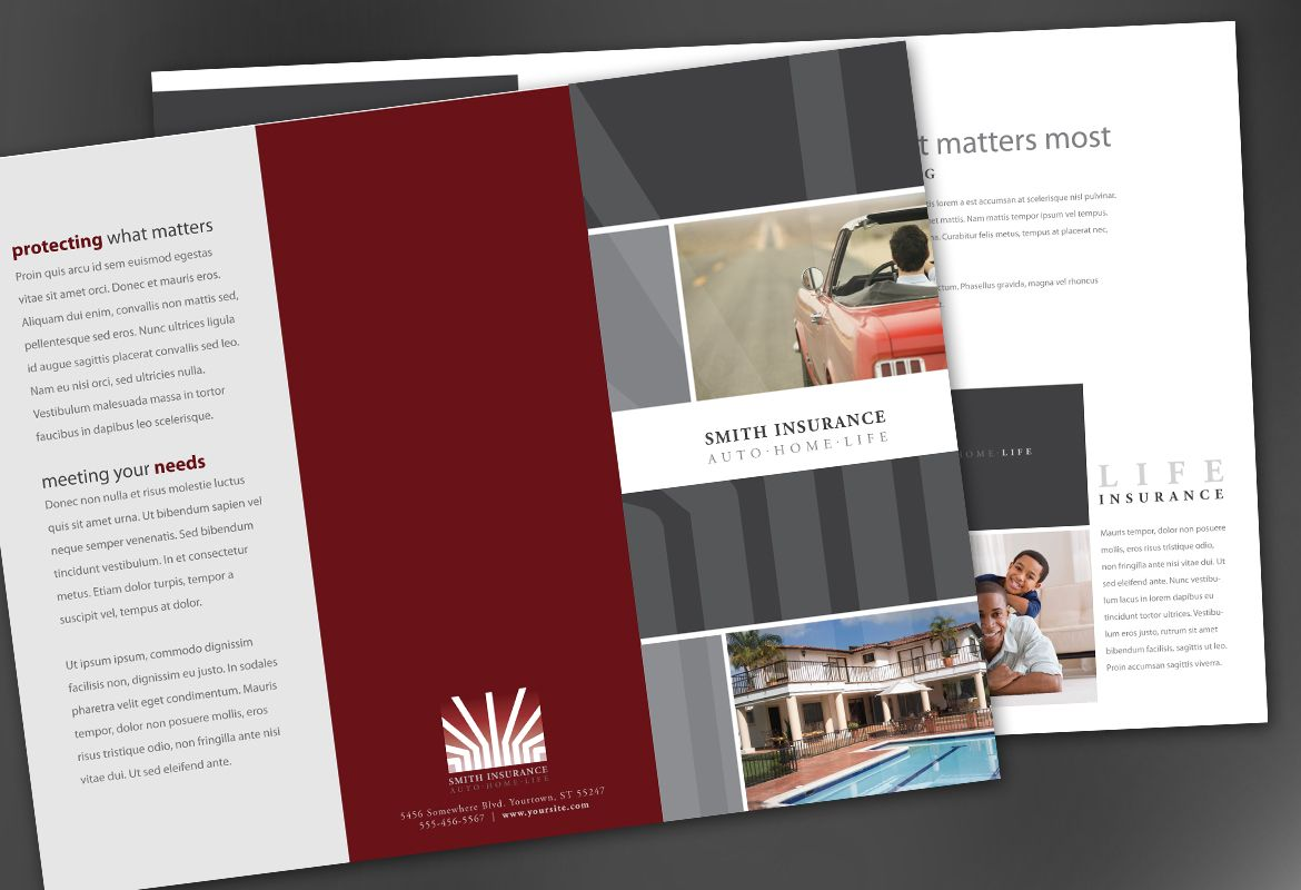 Insurance Agent Insurance Agency Tri Fold Brochure Design Layout