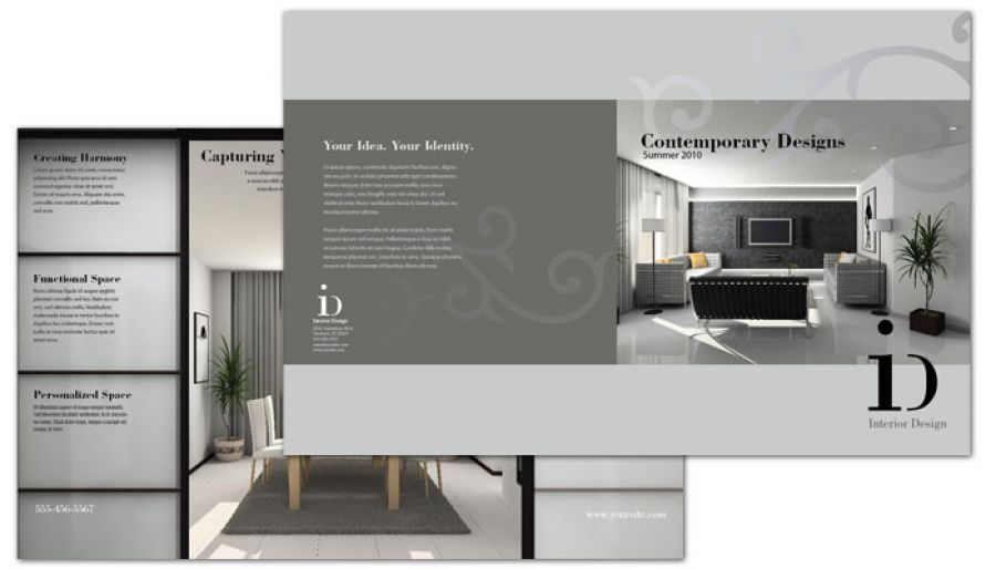 Half fold brochure template for interior design order for Interior design brochure