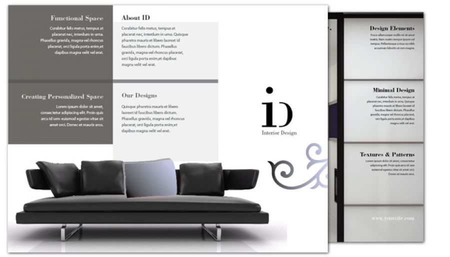Tri fold brochure template for interior design order for Interior design brochures