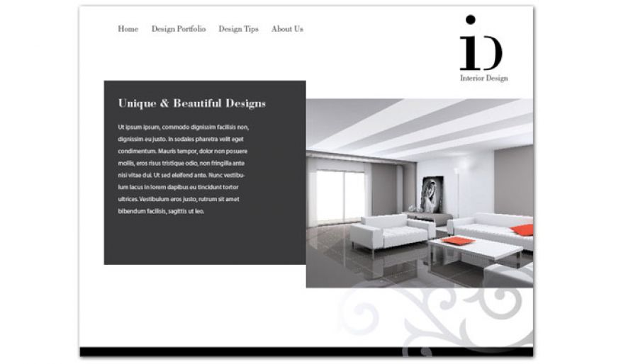 Website template for interior design order custom website for Interior design layout templates
