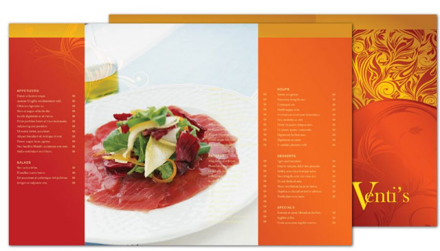 Italian Restaurant Half Fold Brochure Design Layout