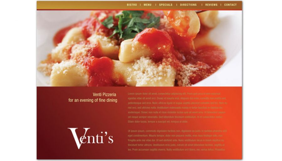 Italian Restaurant Website Design Layout