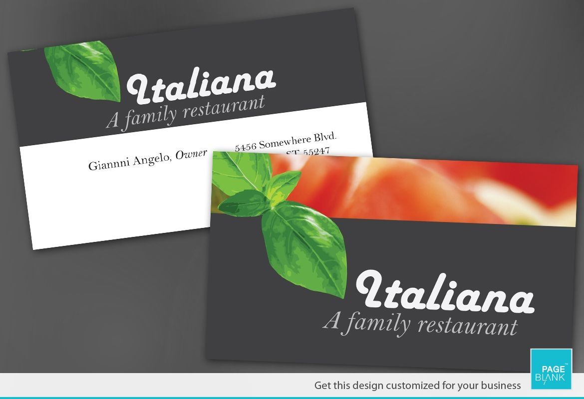 italian restaurant business card design layout - Restaurant Business Card