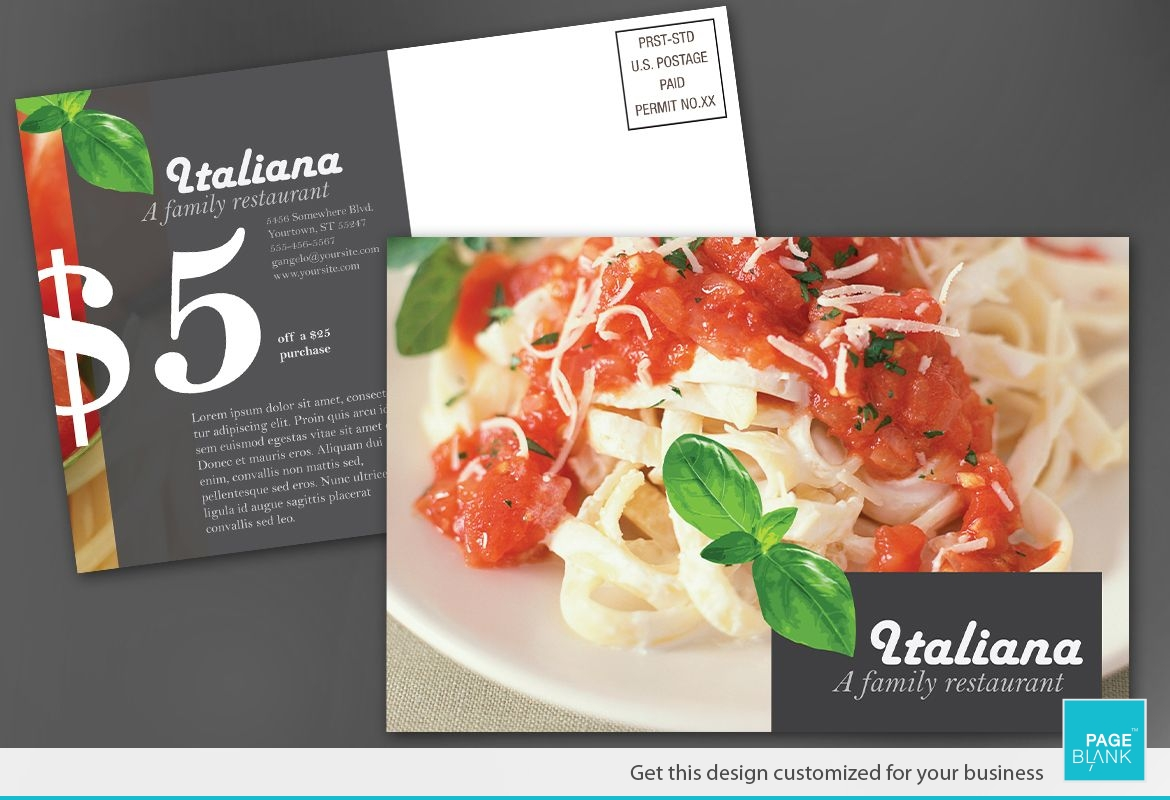 Italian restaurant Postcard Design Layout
