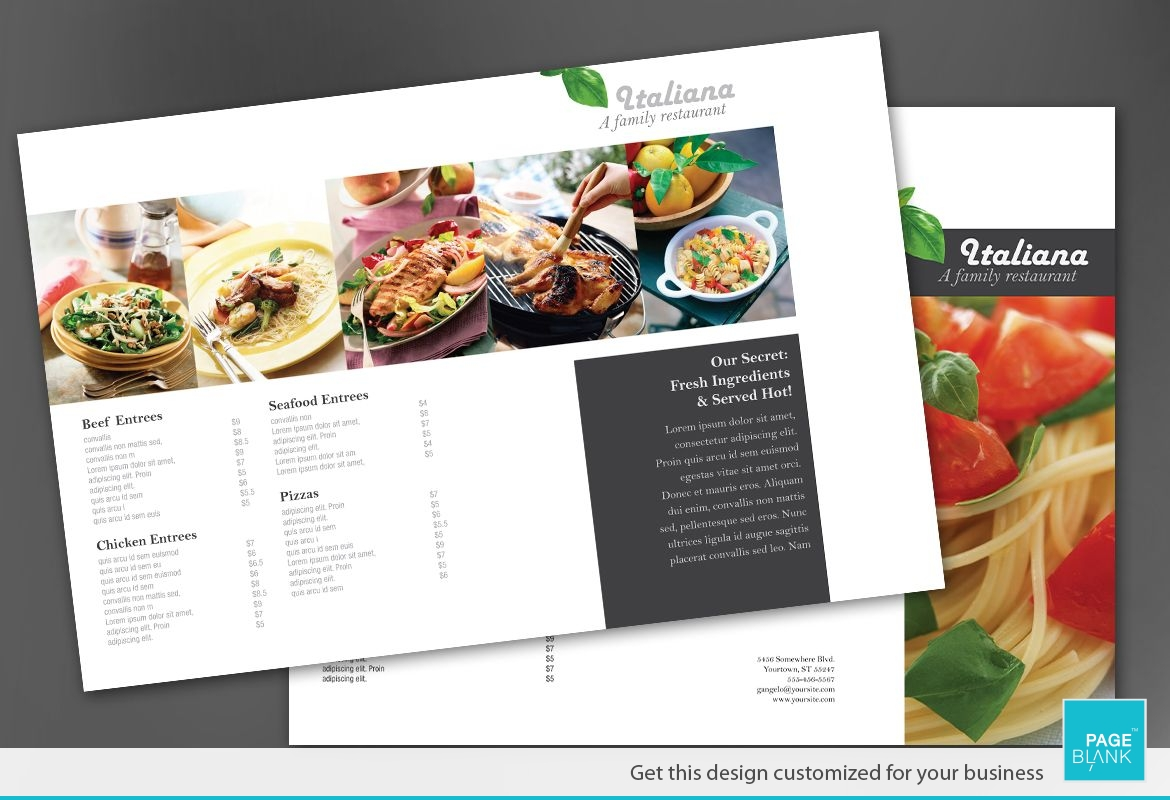 Italian restaurant Tri Fold Brochure Design Layout