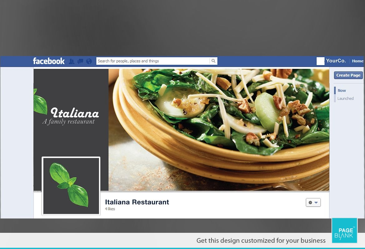 Italian restaurant Twitter Facebook Cover Design Layout