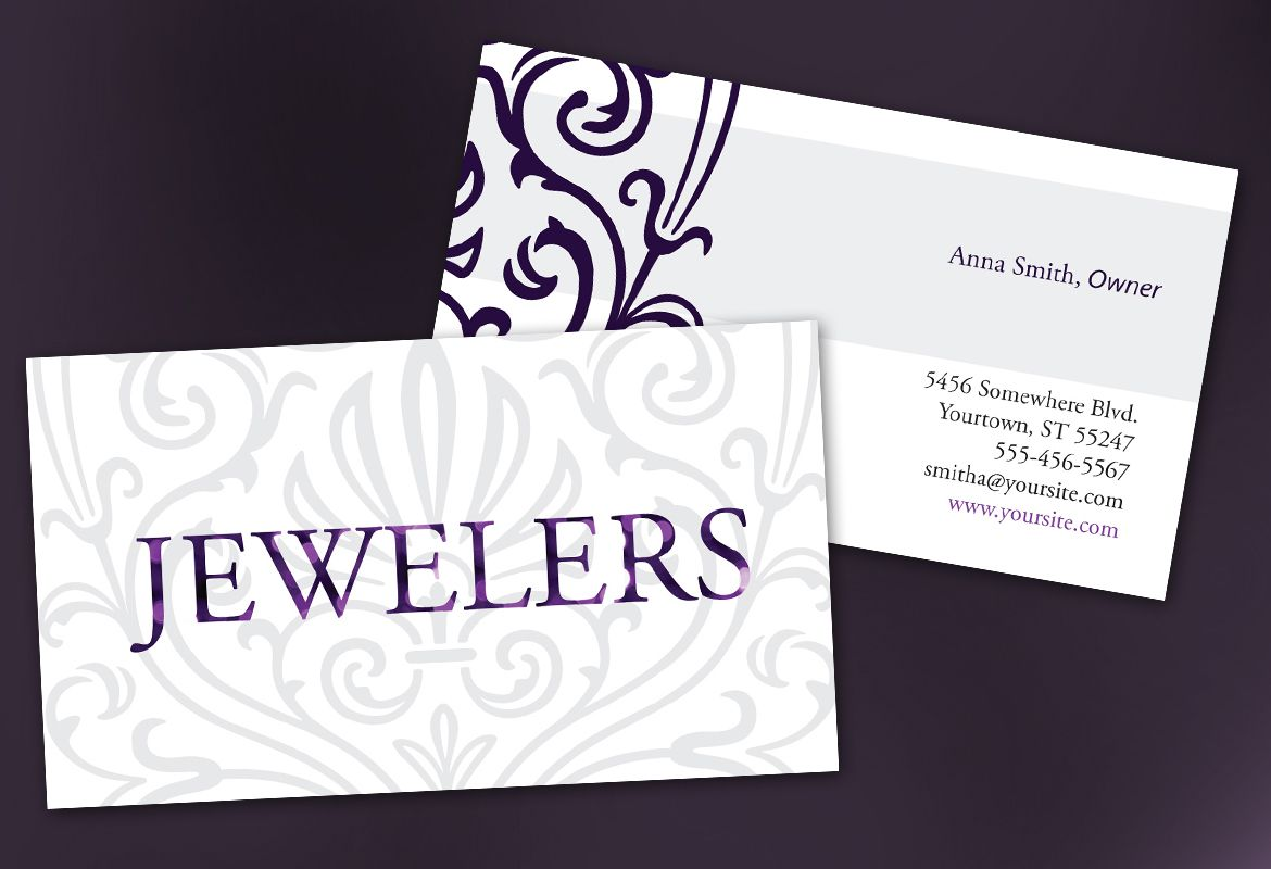 business card template for jewelry and retail store order