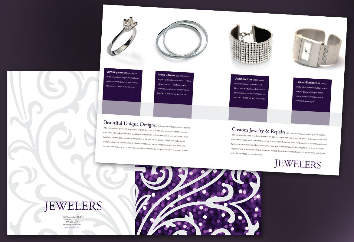 Jewelry and Retail Store Half Fold Brochure Design Layout