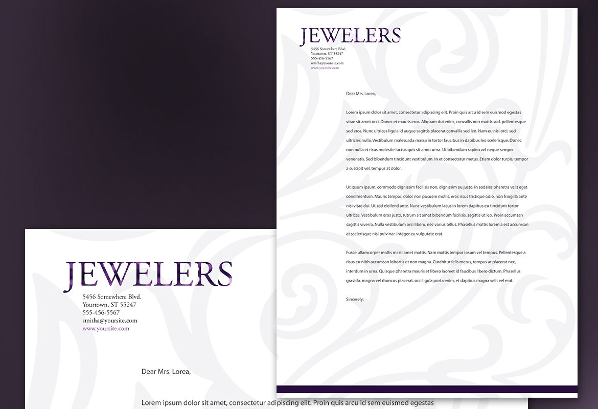 Jewelry and Retail Store Letterhead Design Layout