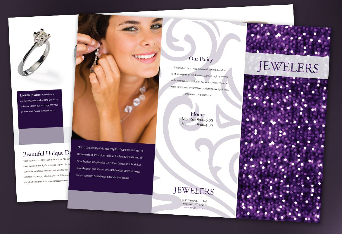 Jewelry and Retail Store Tri Fold Brochure Design Layout