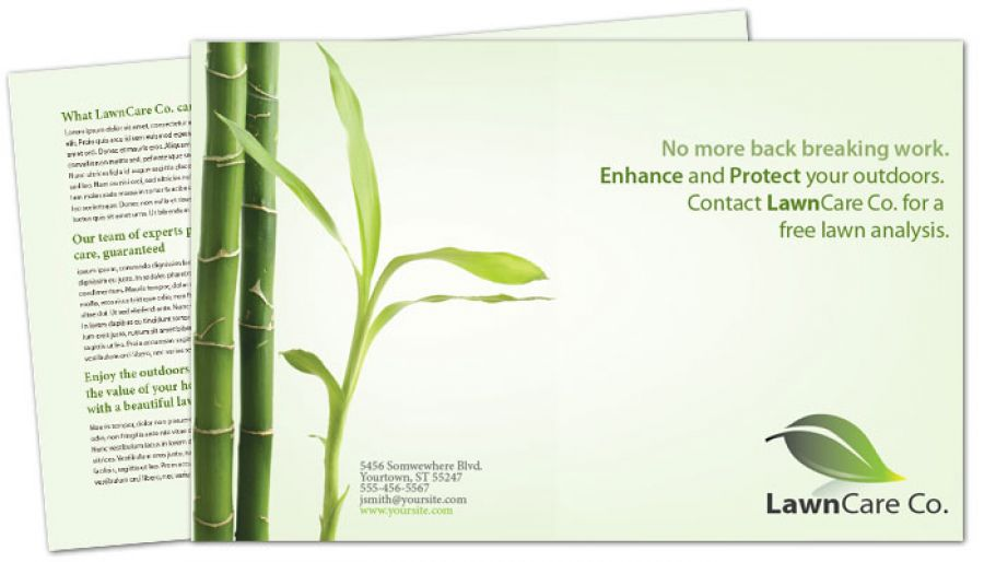 Half Fold Brochure Template For Lawncare Services Order Custom Half