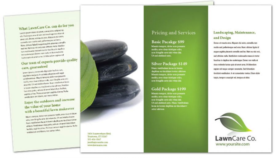 Tri Fold Brochure template for Lawncare Services. Order Custom Tri ...