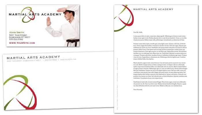 Martial Arts Instructor Schools Business Card Design Layout