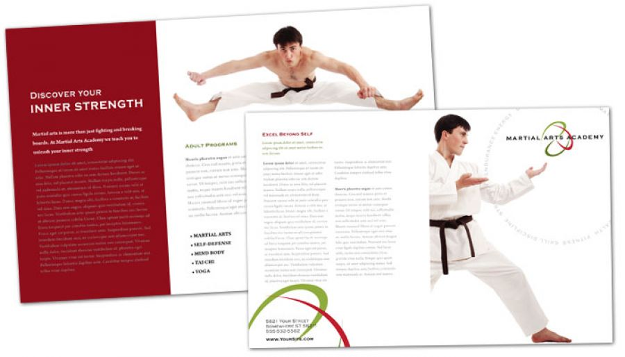 Martial Arts Instructor Schools Half Fold Brochure Design Layout
