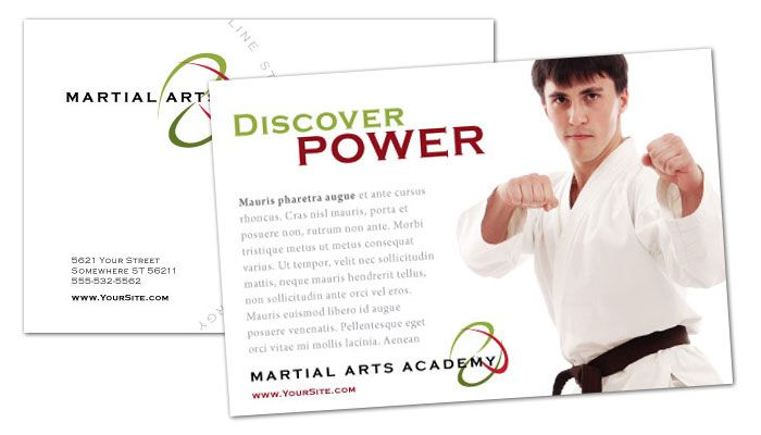 Martial Arts Instructor Schools Postcard Design Layout