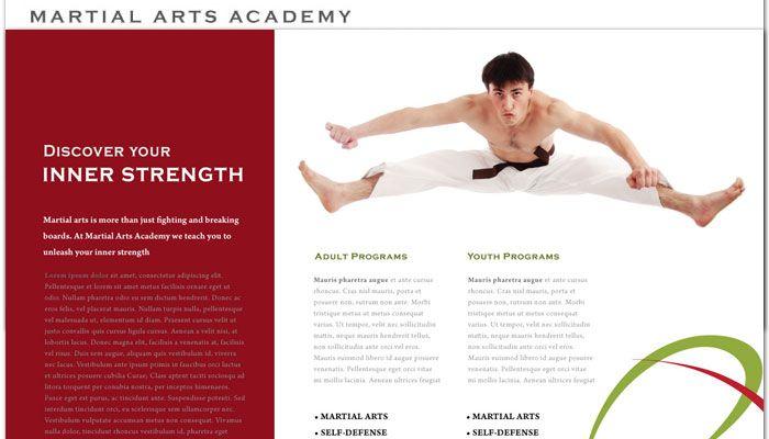 Martial Arts Instructor Schools Website Design Layout