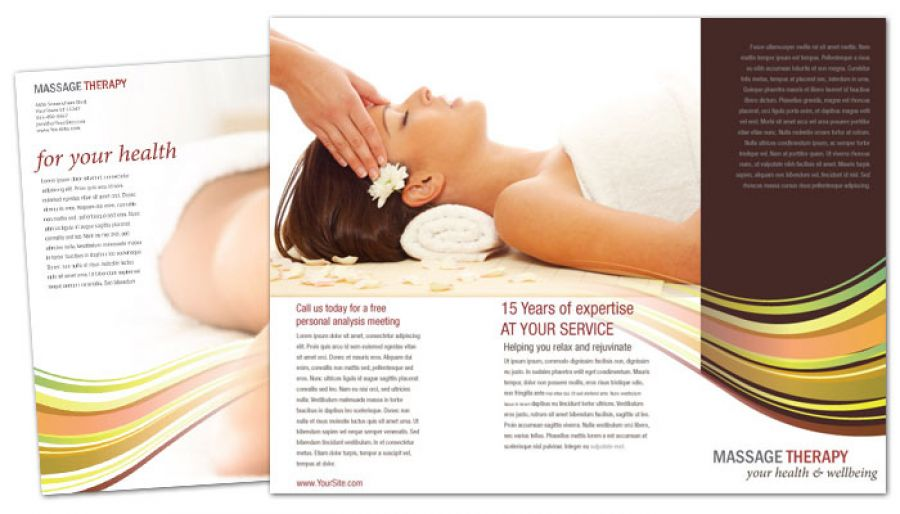 Massage Chiropractor Physical Therapy Tri Fold Brochure Design Layout