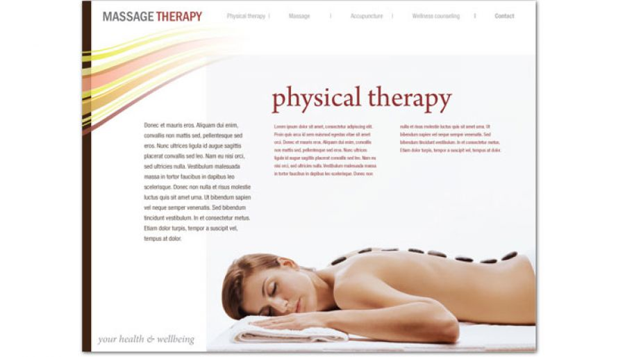 Website template for massage chiropractor physical therapy for Massage brochure template
