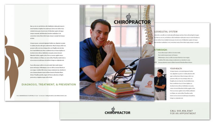 Half fold brochure template for medical chiropractic for Chiropractic brochures template