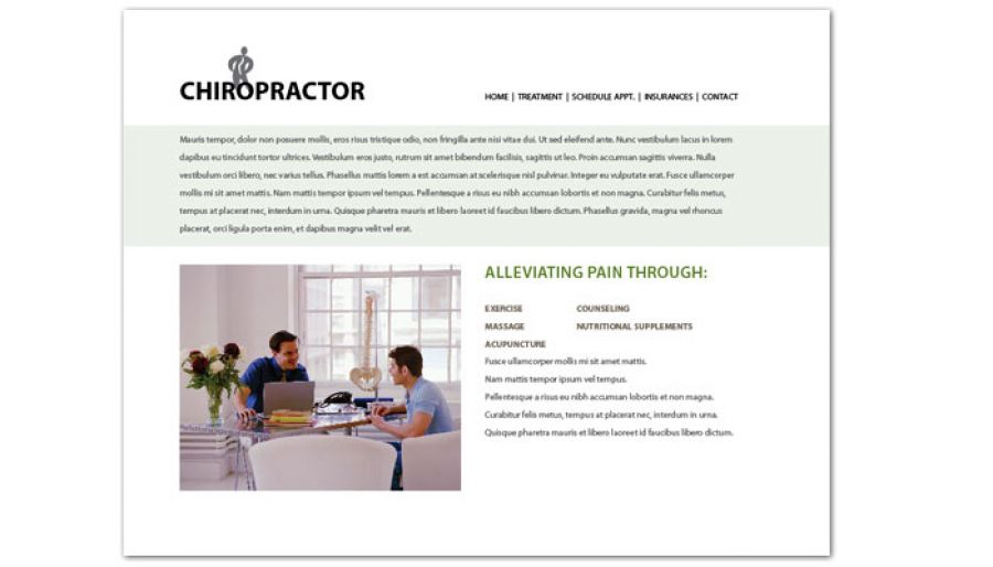 Medical Chiropractic Clinic Website Design Layout