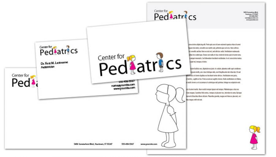 Medical Pediatric Office Business Card Design Layout