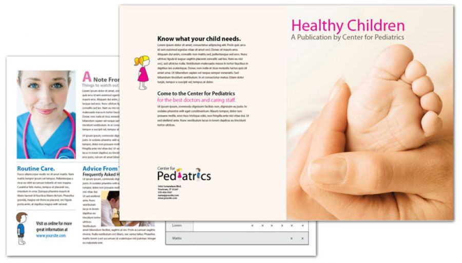 Tri Fold Brochure Template For Medical Pediatric Office Order