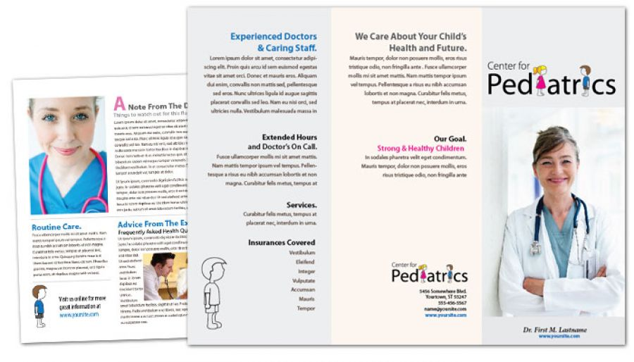 Medical Pediatric Office Tri Fold Brochure Design Layout