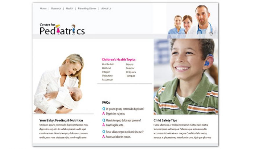 Medical Pediatric Office Website Design Layout