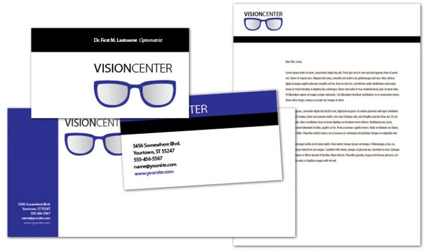 Optometry Office Eyecare Vision Center Envelope Design Layout