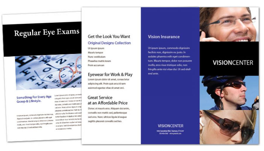 Tri Fold Brochure template for Optometry Office Eyecare Vision