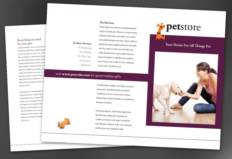 Pet Store Design Tri Fold Brochure Design Layout