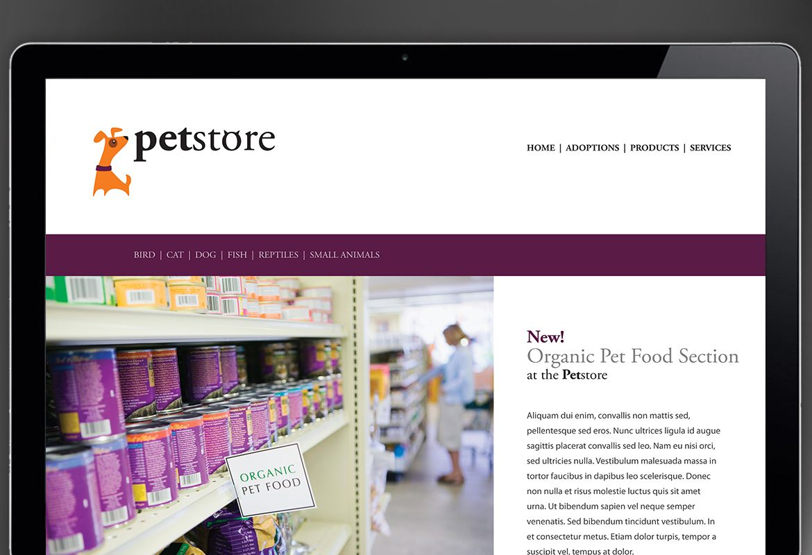 Pet Store Design Website Design Layout