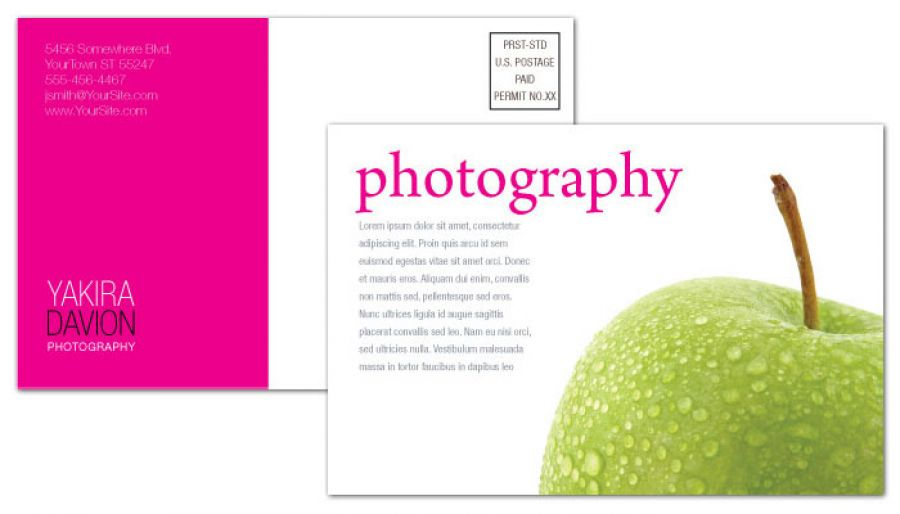 Postcard Template For Photography Photographer. Order Custom