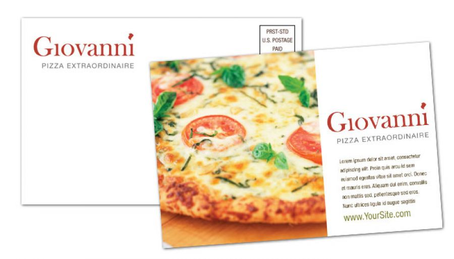 Pizza Restaurant Postcard Design Layout