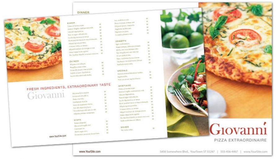 Pizza Restaurant Tri Fold Brochure Design Layout
