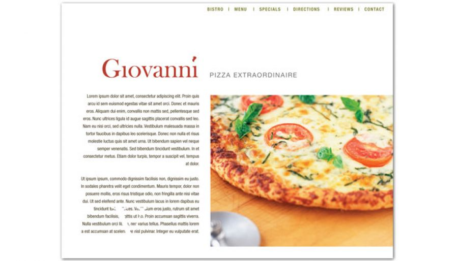Pizza Restaurant Website Design Layout