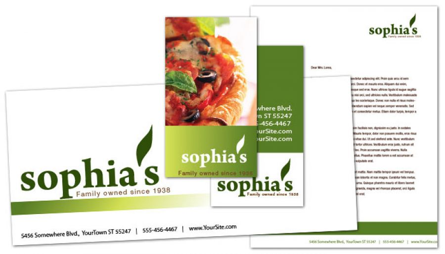 Pizzeria Restaurant Envelope Design Layout