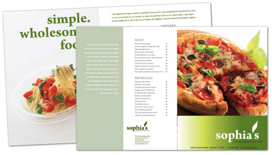 Pizzeria Restaurant Half Fold Brochure Design Layout