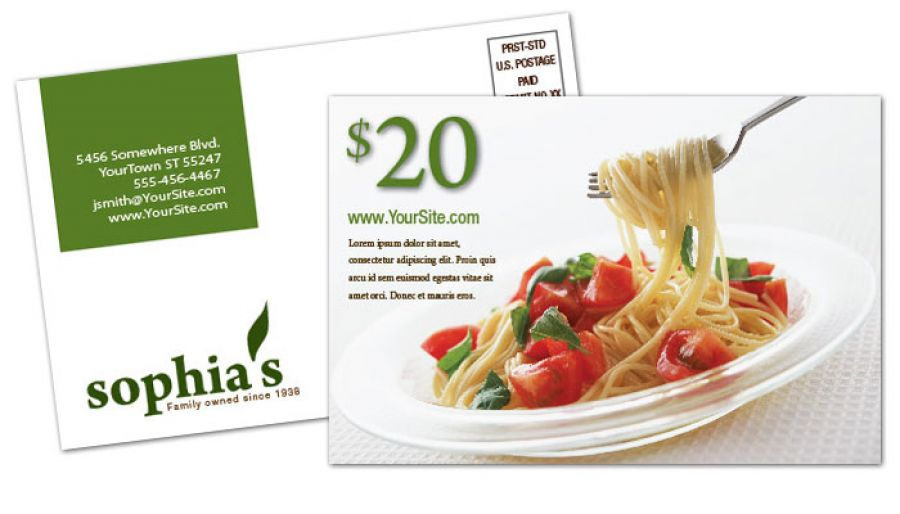 Pizzeria Restaurant Postcard Design Layout