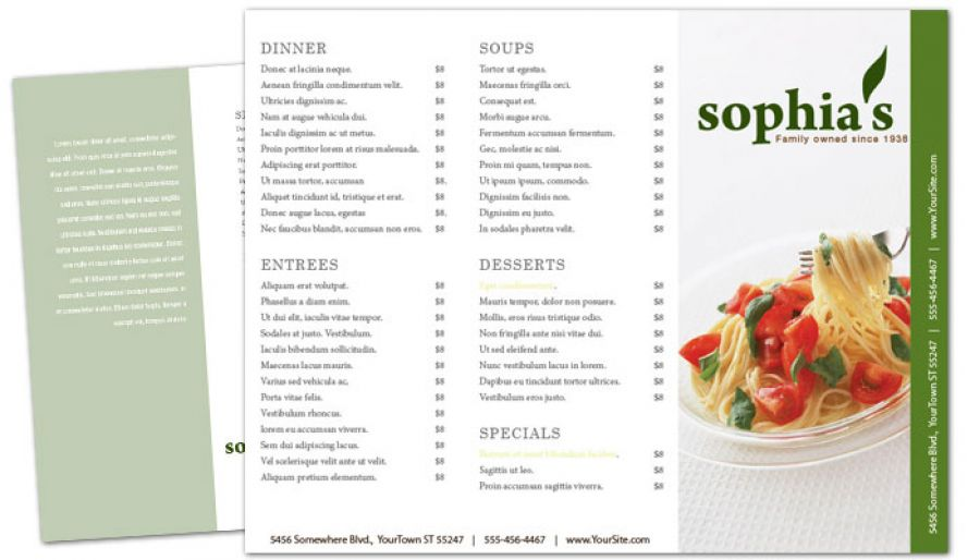 Pizzeria Restaurant Tri Fold Brochure Design Layout