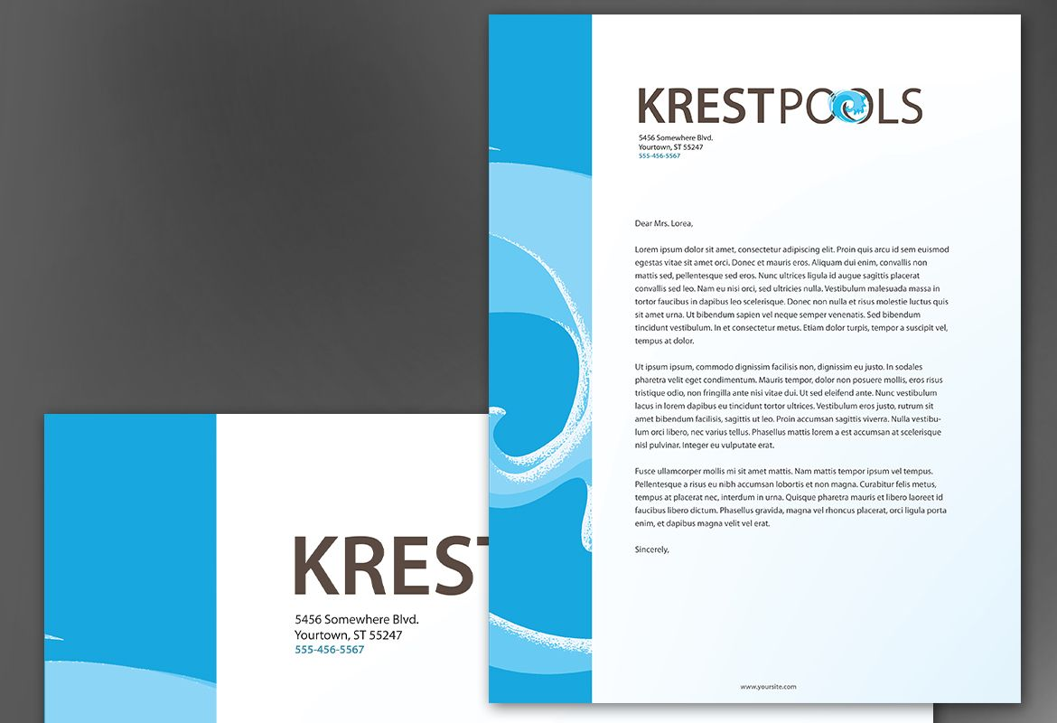 Letterhead layout for Pool design templates