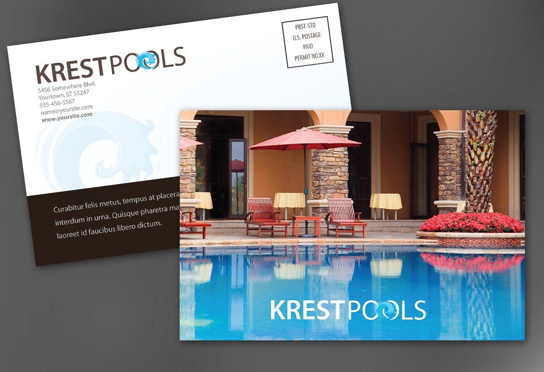 Pool Company Postcard Design Layout