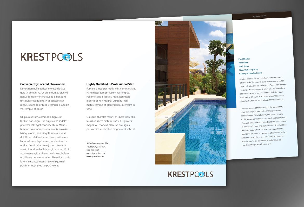 Tri fold brochure template for pool company order custom for Pool design templates