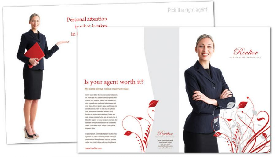Half Fold Brochure Template For Real Estate Agent. Order Custom