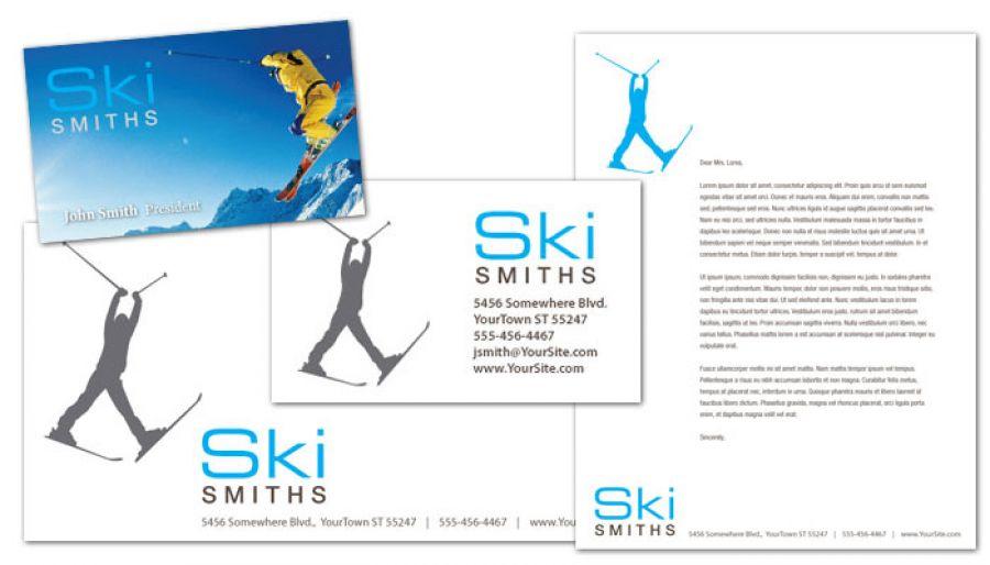 Ski Shop Resort Business Card Design Layout