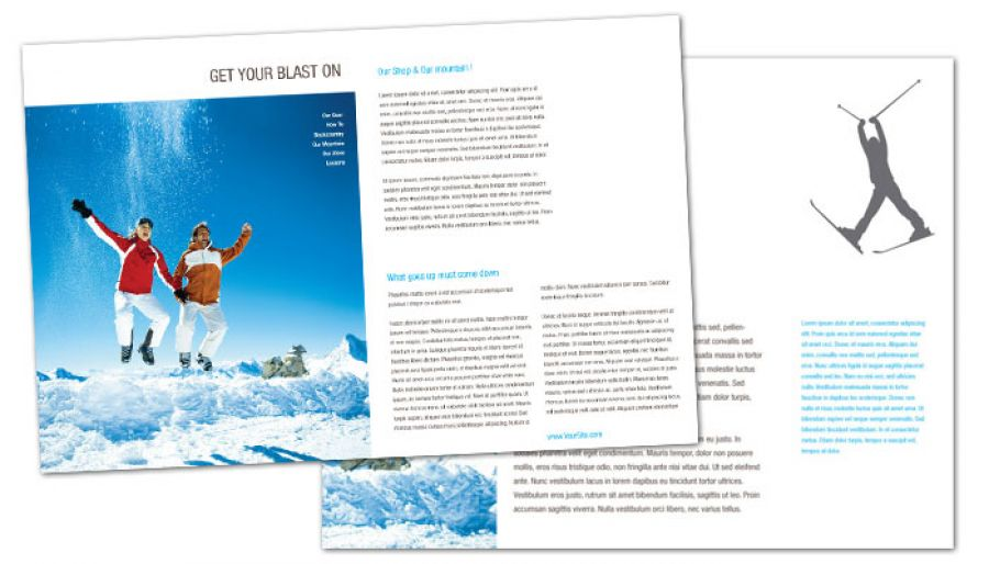 Half fold brochure template for ski shop resort order for Half page brochure template